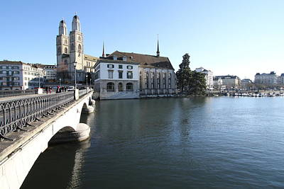 Travel Pics Royalty-Free and Rights-Managed Images - Grossmunster, Wasserkirche and Munsterbrucke - Zurich by Travel Pics