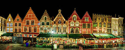 Photograph - Grote Markt Facades In Bruges - Vintage Version by Weston Westmoreland