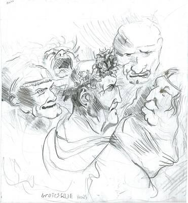 Grotesque Heads Art Print by Joseph  Arico