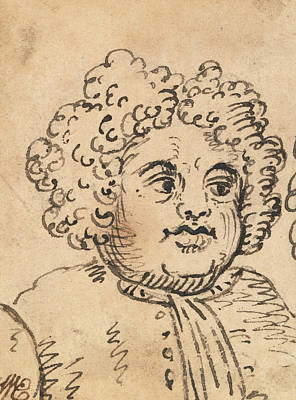 Drawing - Grotesque Male Head by William Hogarth