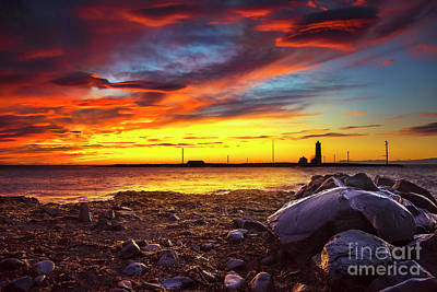 Beach Landscape Mixed Media - Grotta Lighthouse by Svetlana Sewell