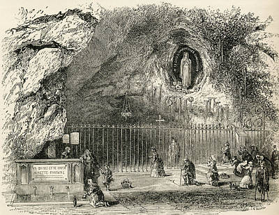 Immaculate Drawing - Grotto Of Massabielle In The Sanctuary by Vintage Design Pics