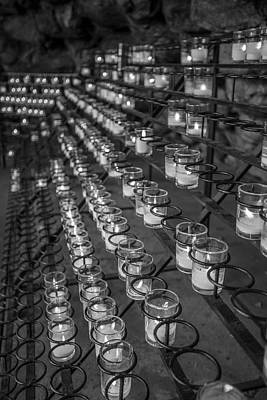 Photograph - Grotto Of Our Lady Of Lourdes Candles Black And White  by John McGraw