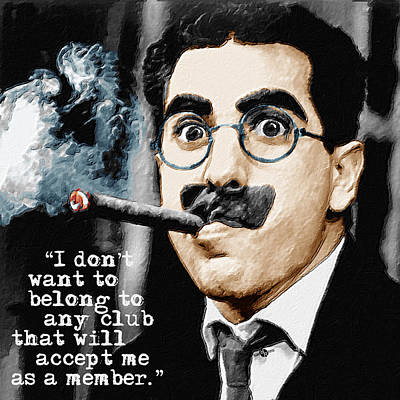 Groucho Marx And Quote Square  Art Print by Tony Rubino