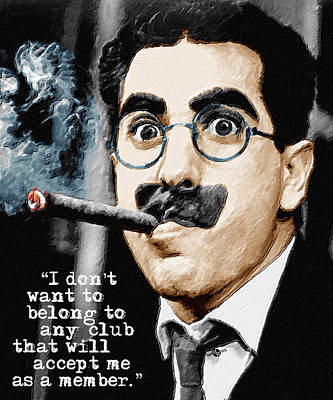 Groucho Marx And Quote Vertical  Art Print by Tony Rubino