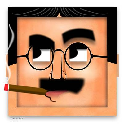 Groucho Marx Digital Art - Groucho Marx Blockhead by John Wills