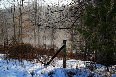 Photograph - Ground Fog And Fence Post by Kathryn Meyer