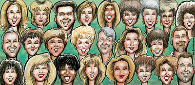 Caricature Digital Art - Group Caricature by Kevin Middleton