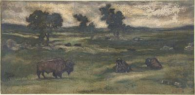 Bisons Painting - Group Of Bison by Celestial Images