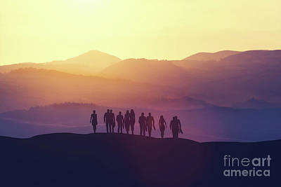 Photograph - Group Of Business People Standing On A Hill by Michal Bednarek