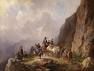 Adolf Painting - Group Of City Folk On A Mountain Tour by Adolf Schmidt