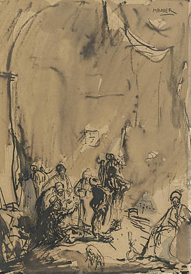 Drawing - Group Of Easterners In Busy Conversation by Marius Bauer
