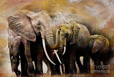 Elephant Mountain Painting - Group Of Elephants 01 by Gull G