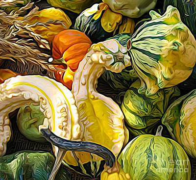 Mixed Media - Group Of Gourds Expressionist Effect by Rose Santuci-Sofranko