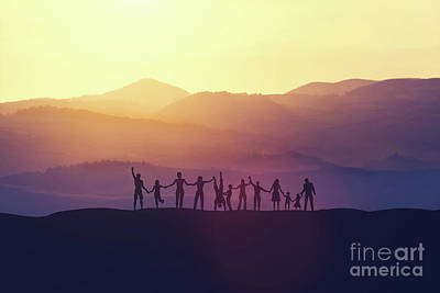Photograph - Group Of Happy People At Sunset by Michal Bednarek
