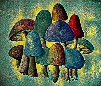 Digital Art - Group Of Mushrooms 2 by Megan Walsh