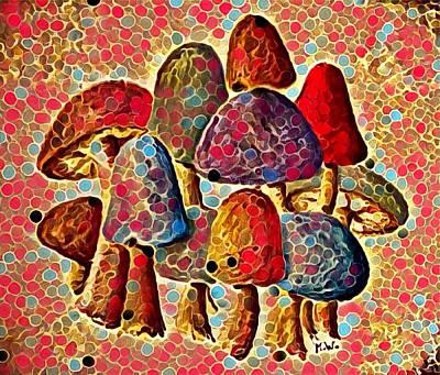 Digital Art - Group Of Mushrooms 3 by Megan Walsh