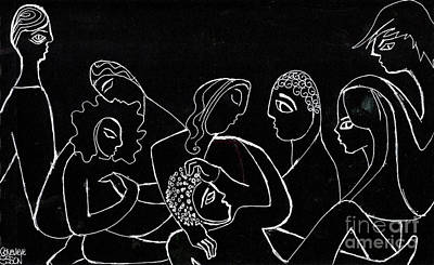 Drawing - Group Of People Hanging Out by Genevieve Esson