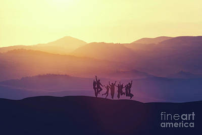 Photograph - Group Of People Jumping High On The Hill by Michal Bednarek