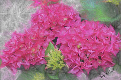 Digital Art - Group Of Pink  Hydrangea Flowers by Rusty R Smith