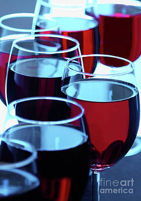 Pinot Noir Photograph - Group Of Red Wine Glasses by Alan O'Brien
