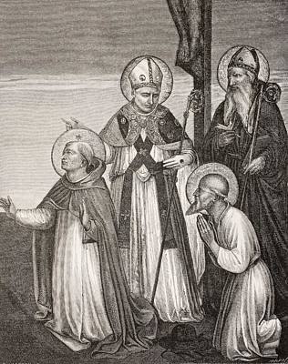 Prayer Drawing - Group Of Saints. Detail Of The Passion by Vintage Design Pics
