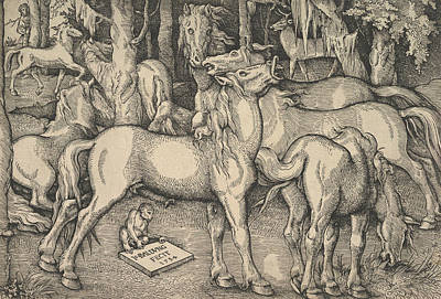 Relief - Group Of Seven Horses by Hans Baldung Grien