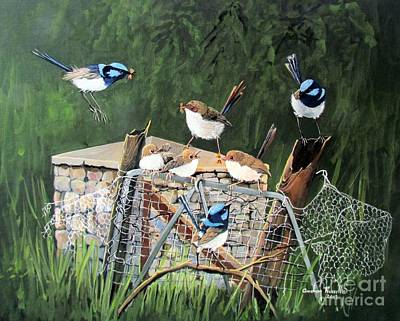 Group Of Superb Fairy Wrens With Fledglings Original by Audrey Russill
