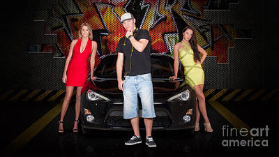 Endorsement Photograph - Group Of Young People Beside Black Modern Car by Jorgo Photography - Wall Art Gallery