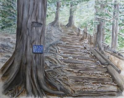 Painting - Grouse Grind Trail Half Way Point by Kelly Mills