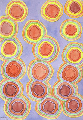 Abstract Painting - Growing Chains Of Circles  by Heidi Capitaine