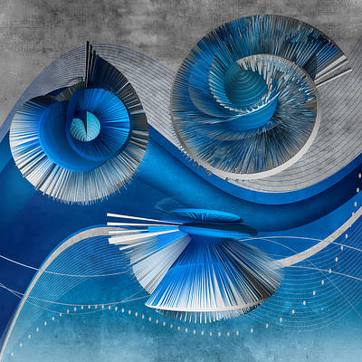 Digital Art - Growing Flowers With Music Blue by Angelina Vick