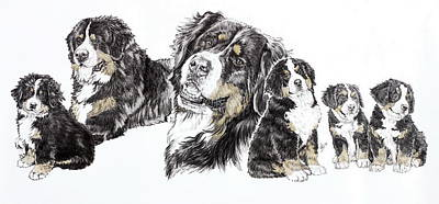 Mixed Media - Growing Up Bernese Mountain Dog by Barbara Keith
