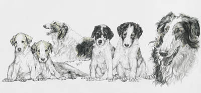 Growing Up Borzoi Art Print