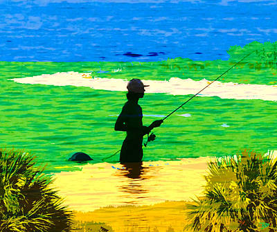 Digital Art - Growing Up Fishing by David Lee Thompson