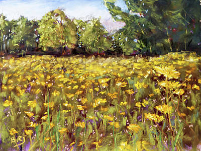 Painting - Growing Wild - Wildflower Landscape by Barry Jones