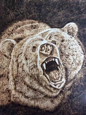 Pyrography Pyrography - Growling Grizzly by Sue O'Sullivan