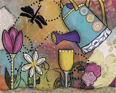 Watering Can Mixed Media - Growth Spurt by Wendy Provins
