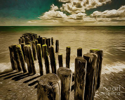 Digital Art - Groynes At Dawlish Warren by Edmund Nagele