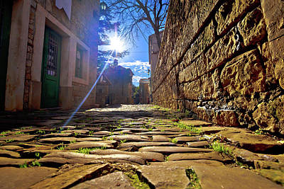 Photograph - Groznjan Cobbled Street And Old Architecture At Sunset View by Brch Photography