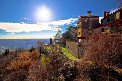 Photograph - Groznjan Village And Istrian Landscape At Low Sun View by Brch Photography