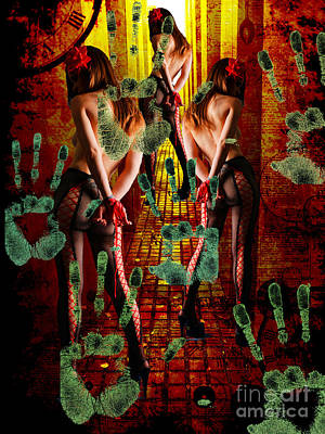 Prostitution Mixed Media - Grubby Littel Hands Enslave by Tammera Malicki-Wong