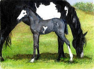 Bay Horse Drawing - Grulla Paint Mare And Foal Portrait by Olde Time  Mercantile