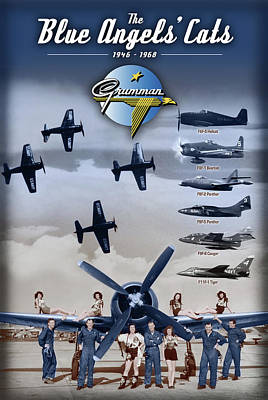 Digital Art - Grumman Blue Angels Cats by The Grumman Store
