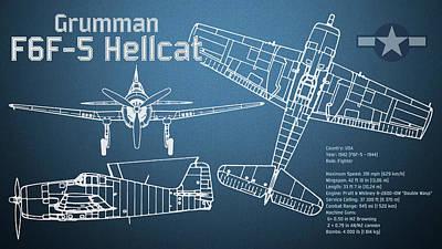 Hellcat Digital Art - Grumman F6f-5 Hellcat Blueprint by Jose Elias - Sofia Pereira