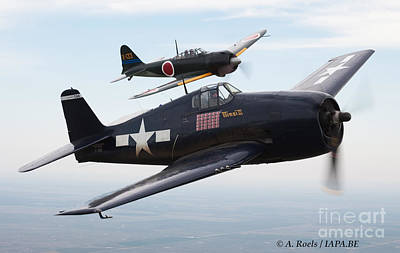 Photograph - Grumman F6f Hellcat And  Mitsubishi A6m Zero Formation Of Caf by Antoine Roels