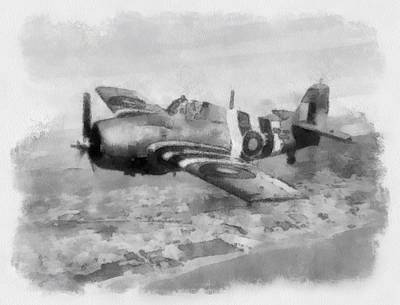 Plane Painting - Grumman Wildcat Of No 846 Squadron Fleet Air Arm by Esoterica Art Agency