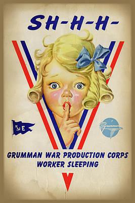 Grumman Worker Sleeping Poster Art Print