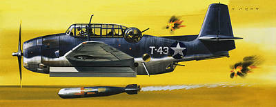 World War Ii Airplane Painting - Grummen Tbf1 Avenger Bomber by Wilf Hardy