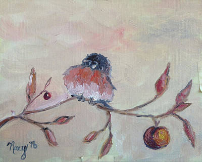 Animals Painting - Grumpy Blue Bird by Roxy Rich
